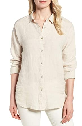 861b762e Image Unavailable. Image not available for. Color: Eileen Fisher Natural  Yarn-Dyed Organic Handkerchief Linen Classic Collar Shirt ...