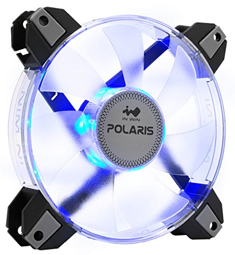 InWin Polaris Led Blue Single Fan 120mm High Performance Silent Cooling Computer Case Fan with Anti-Vibration Mounting Cooling