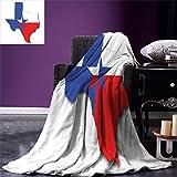 smallbeefly Texas Star Custom printed Throw Blanket Outline of the Texas Map American Southwest Austin Houston City Velvet Plush Throw Blanket Vermilion White Violet Blue