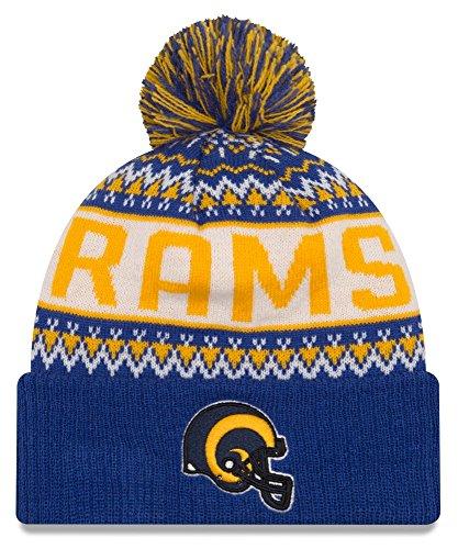 Los Angeles Rams New Era NFL ''Historic Wintry Pom'' Cuffed Knit Hat with Pom by New Era