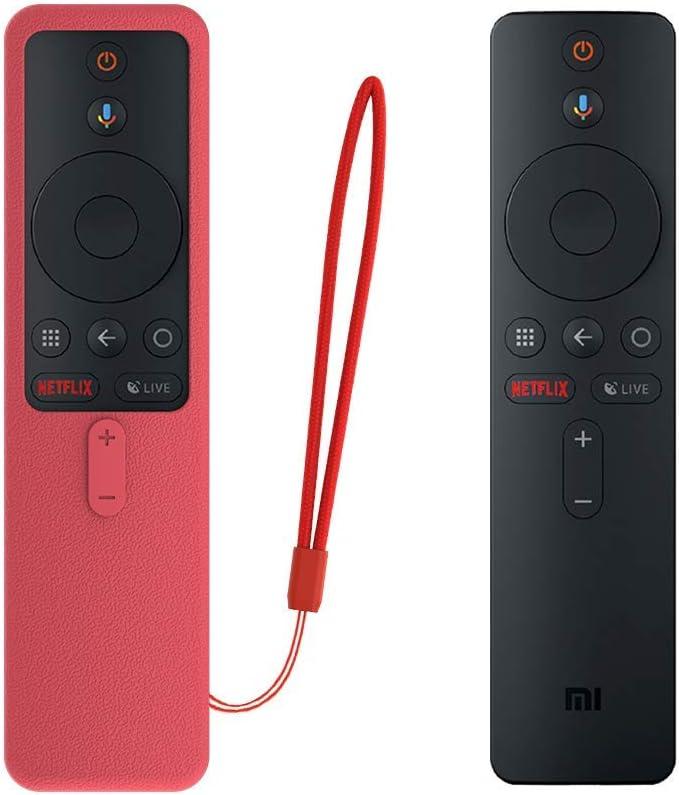 SIKAI Funda Protectora para MI TV Box S EU Mando a Distancia Carcasa de Silicona Resistente a Golpes para MI Box S Remote Antipolvo Antipérdida Protective Skin (Rojo)