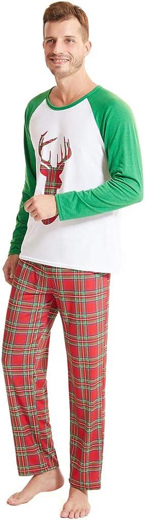MyFav Christmas Pajamas for Family Cute Snowman Print Long Sleeve PJS Set