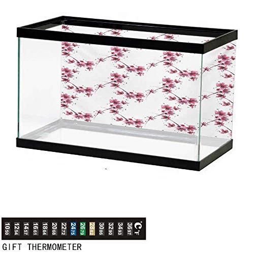 Aquarium Background,Asian,Watercolors Petal Flower Oriental Ethnic Native Floral Pattern with Twigs Artful,Fuchsia White Fish Tank Backdrop 48