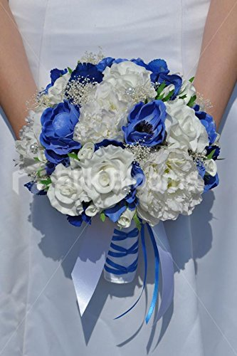 Bouquet Blu Sposa.Amazon Com Royal Blue Anemone And Hydrangea White Fresh Touch Rose
