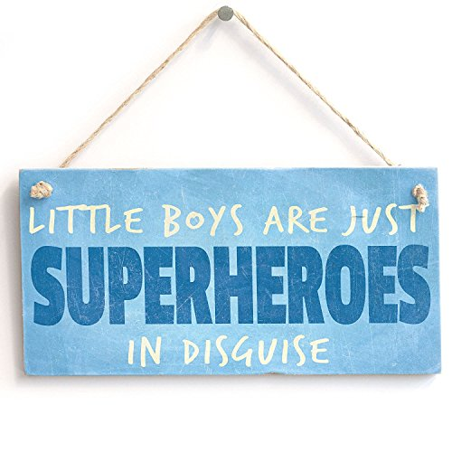 Meijiafei 'Little Boys Are Just Superheroes In Disguise' Gift For Son/ Nephew - PVC Door Sign / Plaque (Little Boys Are Just Superheros In Disguise)