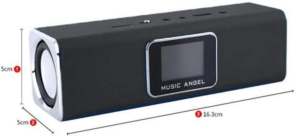 Support Lyrics sync Display Calendar Clock Alarm Original MUSIC ANGEL JH-MAUK5B LCD Screen Active Audio FM Radio WAV//WMA MP3 Player 6W Portable Mini Speakers with USB//Micro SD//TF Slot Black