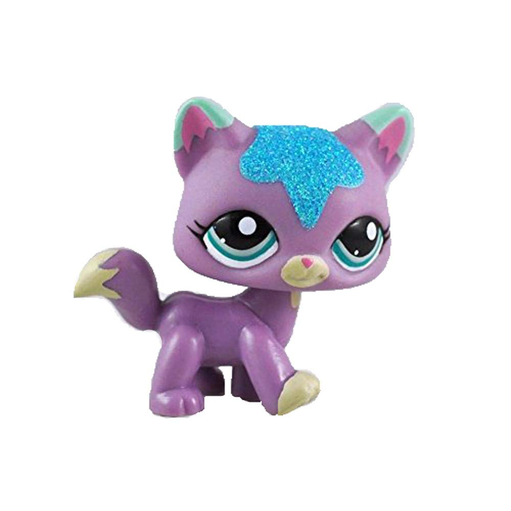Sparkle Glitter Purple Cat Kitty Blue Eyes Figure LPS #2386 Puppies Small Kids Toy Box Storage crossed3_Pet toy store