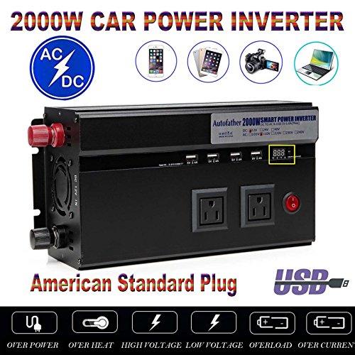 Car Power Inverter 2000W DC 12V to 110V AC 2 Outlets + 4 USB Charging Ports + 2 Cigarette Socket Portable Converter for Tablets Laptop Smart Phones with Cigar Battery Connector Line