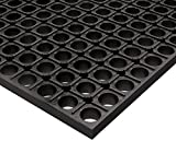 American Floor Mats Black Rubber Cushion-Tred Black 18'' x 24'' Anti-Fatigue Drainage Mat for Wet Areas 7/8'' Thickness