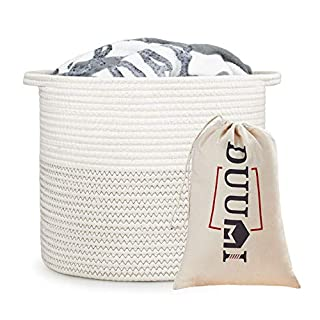 "DUUMI Cotton Rope Small Storage Basket 11.4"" x 11.4""Rope Basket,Baby Nursery Hamper for Toy Storage,Small Rope Basket,Small Hamper"
