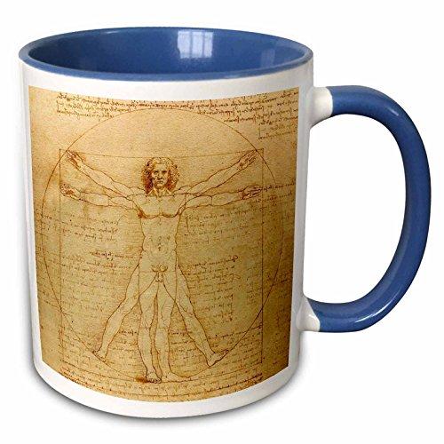 "3dRose 155633_6""Vitruvian Man by Leonardo Da Vinci 1490"" Mug, 11 oz, Blue"
