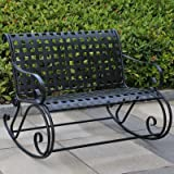 Cheap International Caravan Iron Scroll Double Rocker – Antique Black – 3474-ep