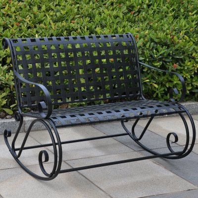 International Caravan Iron Scroll Double Rocker - Antique Black - 3474-ep