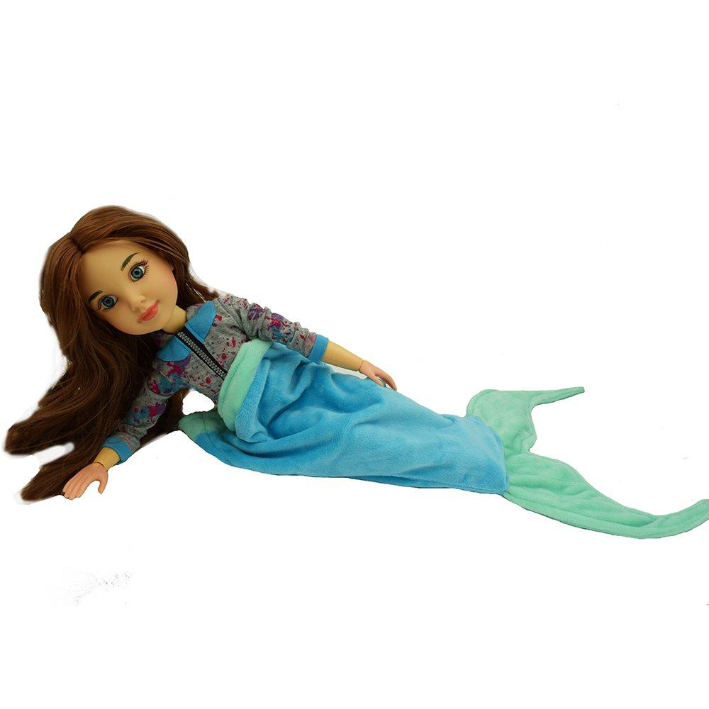 Funkeet 18 Doll Mermaid Tail Blanket Sleeping Bags Little Girls Gift Mermaid Blanket Outfit Fits American Doll Blue