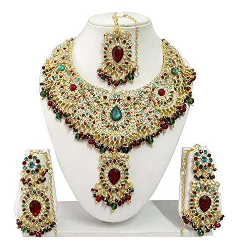 Indian Bollywood Jewelry Set Ethnic Gold plated Necklace set with Earrings and Maang Tikka JS9007 Maroon-Green