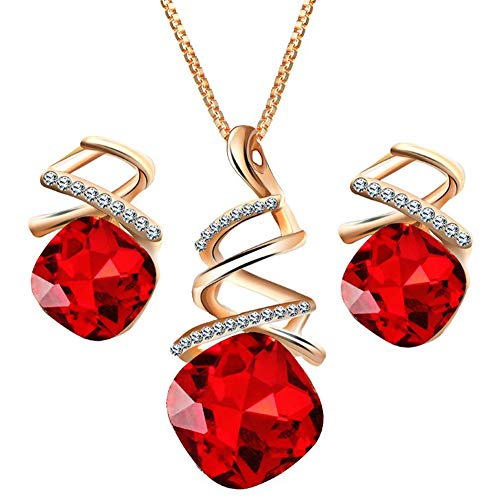 Otsale18K Gold Plated Simulate Gem Set Austrian Crystals Pendant Necklace and Earrings Prom Party Jewelry Set for Women Gifts (Red)