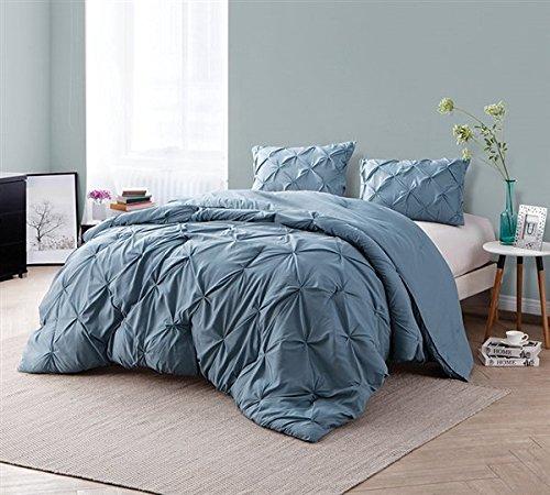 Byourbed Smoke Blue Pin Tuck King Comforter (Bedding Tuck Pin)