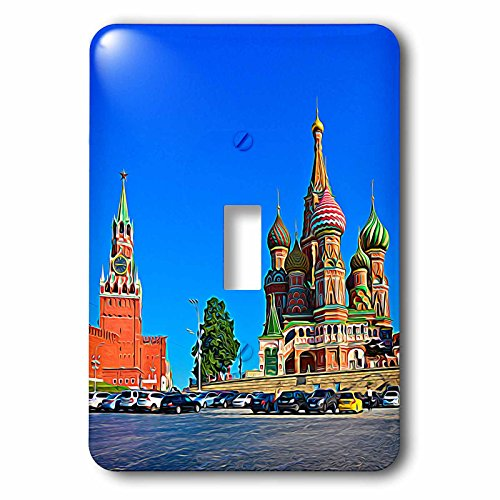 (3dRose Alexis Photo-Art - Moscow City 2 - Moscow city art. The Kremlin Spassky tower and St. Basils cathedral - Light Switch Covers - single toggle switch (lsp_273027_1) )