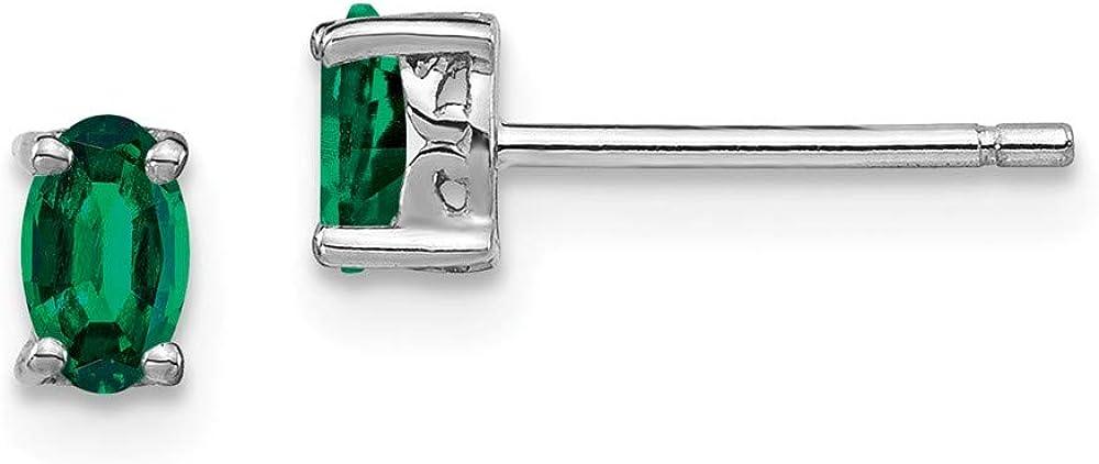 Pendientes de plata de ley 925 chapados en rodio de 5 x 3 mm con esmeralda ovalada para mujer
