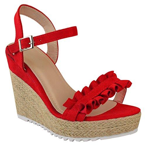 Fashion Thirsty heelberry Mujer Verano Tacón Alto Cuña Volante Sandalias Plataformas Alpargatas Tiras Rojo Ante Artificial