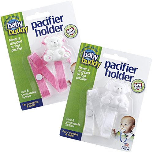 Baby Buddy Pacifier Holder Clip - Cute Fashionable Bear Clips onto Baby's Shirt, Snaps to Paci, Teether, Toy - For Babies 4+ Months - Pacifier Clip for Toddlers Boys & Girls, Pink/White, 2 Count Baby Buddy Pacifier Holder