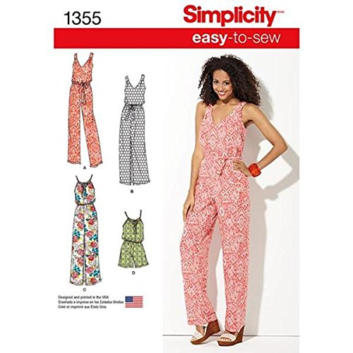 Simplicity Creative Patterns 1355 Misses' Maxi Dress and Long or Short Jumpsuit, A (XX-Small-X-Small-Small-Medium-Large-X-Large-XX-Large)