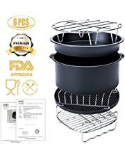 Accessori per la friggitrice ad aria,6 pezzi accessori universali,incluso la forma per la torta/tegame per la pizza/supporto in metallo/girarrosto per lo spiedo/forma per il pane/tappetino in silicone