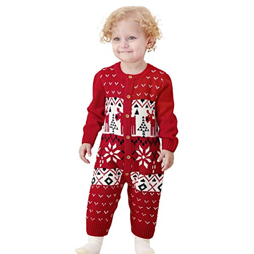 Baby Down Sweater (MiMiXiong Boy Girl Reindeer Christmas Jumpsuits Button Up Newborn Baby Long Sleeves Sweater Overalls (Red,24M))