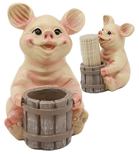Ebros Country Farmland Barn Piglet Pig Toothpick Holder Statue 3.75''Tall With Toothpicks Babe Pig Figurine Excellent Present For Farmers Barn Animal Lovers Cute Home Kitchen Decor by Ebros Gift