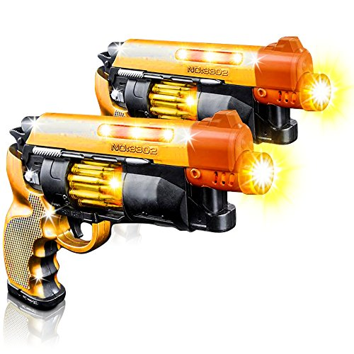 Blade Runner Toy Pistol by ArtCreativity Toy Gun for Kids with LED and Sound Effects, Design, Batteries Included, Sturdy Plastic Design, Great Gift Idea for Boys & Girls (2 Pistols) -