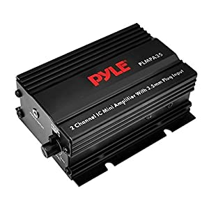 Pyle Dual Channel Mini Portable Stereo Receiver Box - 300 Watt Rack Mount Audio Speaker Power Amplifier System w/ 3.5mm Input - Enjoy Amplified Sound for Your Home Entertainment System - PLMPA35
