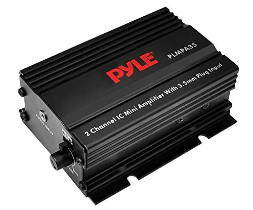 Dual Channel Mini Portable Stereo- Receiver Box - 300 Watt Rack Mount Audio Speaker Power Amplifier System w/ 3.5mm Input - Enjoy Amplified Sound for Your Home Entertainment System - Pyle PLMPA35 ()