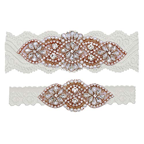 (Yanstar Wedding Bridal Garter Belt Off White Stretch Lace Bridal Garter Sets with Rose Gold Rhinestones For Wedding)