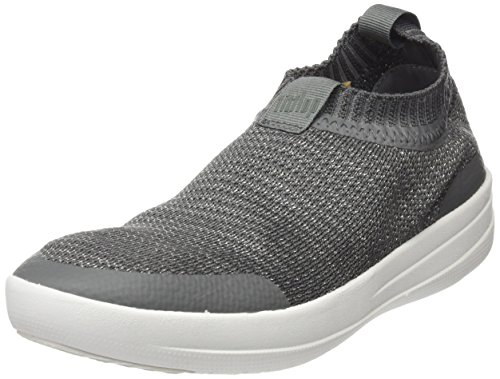 Fitflop Women Uberknit Sneakers-Metallic Slip on Trainers, Multicolour (Charcoal/Metallic Pewter 551), 8 UK (42 EU)