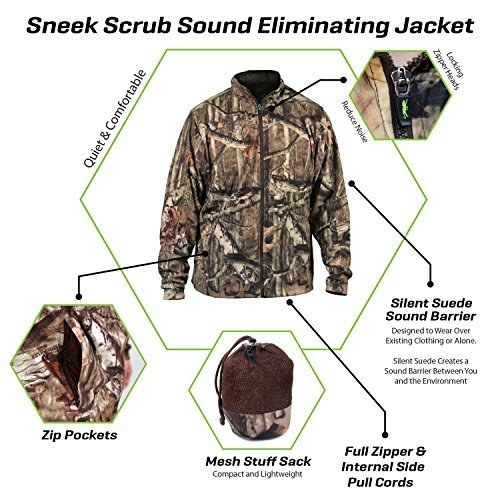 Camo Hunting Clothing - SneekTec Sneek Suit Jacket - Sound Eliminating Camo Hunting Gear For Over Your Clothing (Jacket, Large)