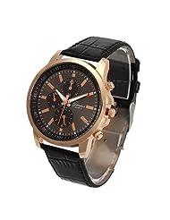 Wrist Watch TOOPOOT® Unisex Casual Geneva Faux Leather Quartz Analog Wrist Watch (Black)