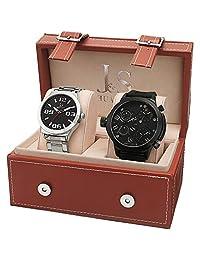 Joshua & Sons Men's Analog Display Swiss Quartz Black and Silver Watch Set