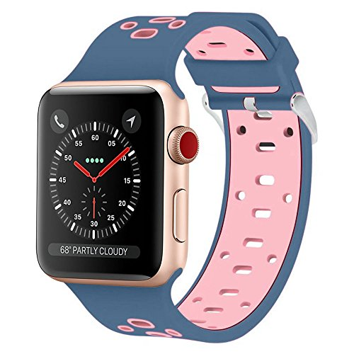 For 38MM Apple Watch Band, Shielda Silicone Strap Replacement Sport Band for Apple Watch (TYPE Z - Midnight blue / Light - A-z Bands Metal