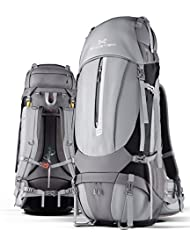 Ghostek NRGcamper 60 Liter Hiking Backpack with Rain Cover & 11W Solar Panel for Outdoor Camping   Built-In 16,000mAh...