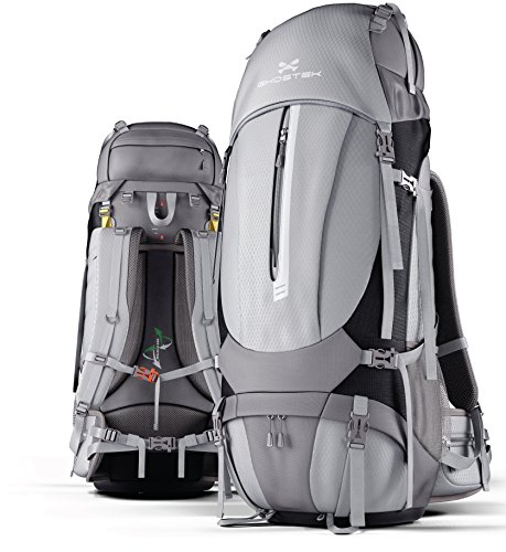 mper 60 Liter Hiking Backpack with Rain Cover & 11W Solar Panel for Outdoor Camping | Built-In 16,000mAh Battery + LED Power Indicator - Gray (Solar Power Backpack)