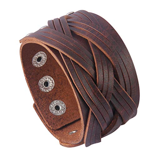 Jenia Genuine Leather Cuff Bracelet Punk Braided Bracelets Rock Leather Wristbands Religious Gothic Adjustable Wrap Bracelet for Men, Boy, Kids, Biker, Women Gifts Brown Leather Band Bracelet