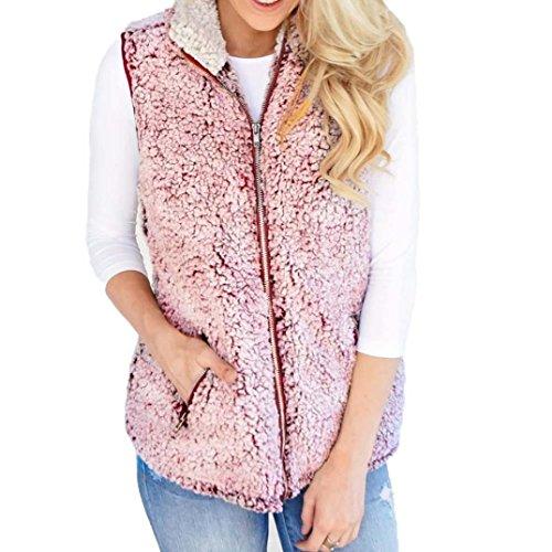 Casual Pink Sherpa Winter Up Faux Fur Zip Jacket Warm Women's Misaky Vest Outwear 7Znx1qwUvX