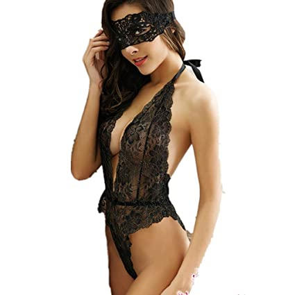 6763d7047922 Image Unavailable. Image not available for. Color: sexy lingerie sets women  hollow out lace mask + teddy sets Exotic Apparel sexy costumes underwear