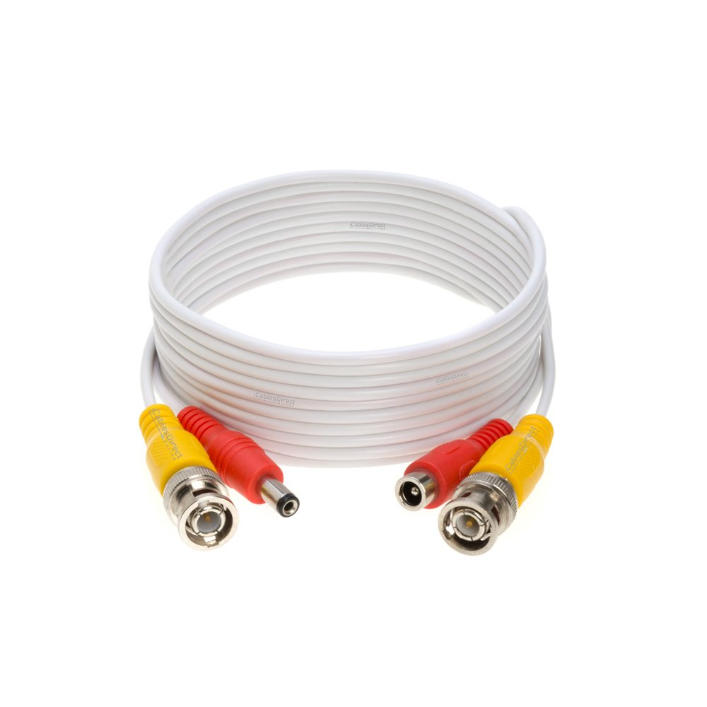 50ft Premade BNC Video Power Cable / Wire For Security Camera, CCTV, DVR, Surveillance System, Plug & Play (White, 50)