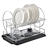 Best Commercial Steel Rust Proof Kitchen In Sink Two Tier Dish Drying Rack, Chrome Dish Drainer With Black Drainboard