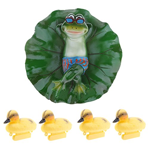 (Homyl 5x Lying Style Frog Duckling Duck Artificial Pond Lily Floating Decoration Plant and Animal Ornament Fountain Pond Decoration Craft Baby Bathtub Toy)