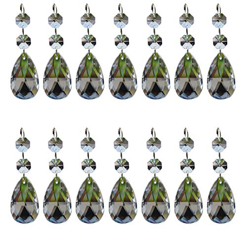 20Pcs Chandelier Suncatcher Glass Rhinestone Teardrop Strands, Wind Chime Maker Crystal Beads Chain Hanging Garland, Rainbow Maker Faceted Prisms Pendants for Window,Room Decoration (Clear, 38mm)