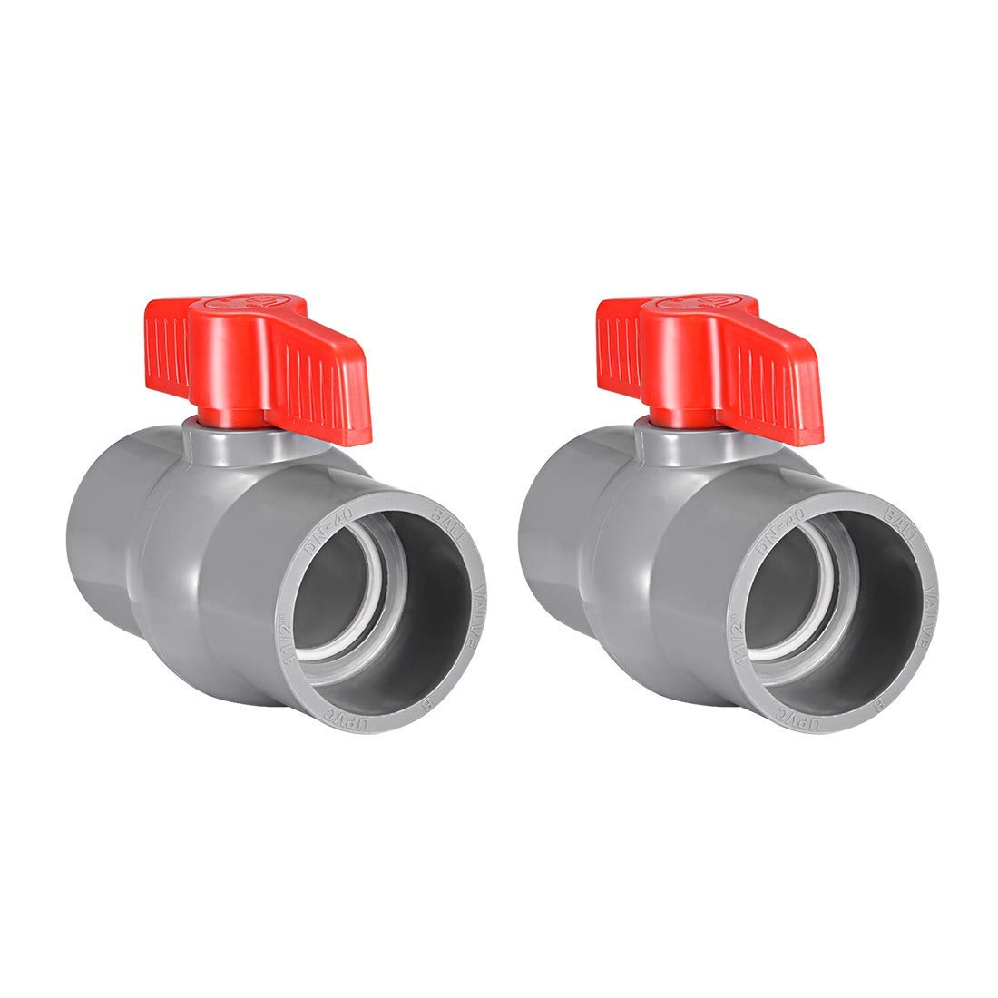 PVC Ball Valve Supply Tube Sliding knob Sliding Ends 1-1//2 inches Inner Hole Diameter Red Gray 2 Pieces