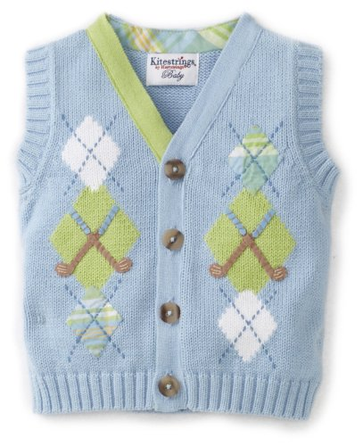 Kitestrings Baby-Girls Newborn Argyle Vest Sweater