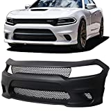 dodge charger srt bumper - Front Bumper Cover Fits 2015-2018 Dodge Charger | SRT8 Style Unpainted Black PP Hellcat Conversion Front Lip Spoiler Diffuser Cover Guard by IKON MOTORSPORTS | 2016 2017